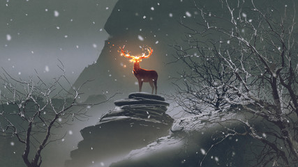 Photo sur Plexiglas Grandfailure the deer with its fire horns standing on rocks in winter landscape, digital art style, illustration painting