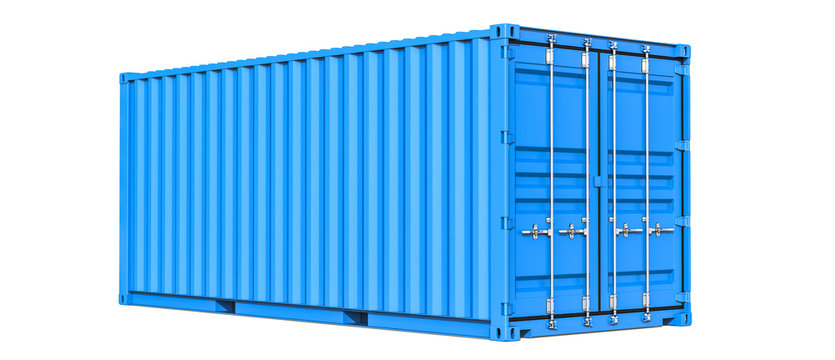Blue cargo container shipping freight twenty feet. For logistics and see transportation. 3d Illustration, Isolated on white background.