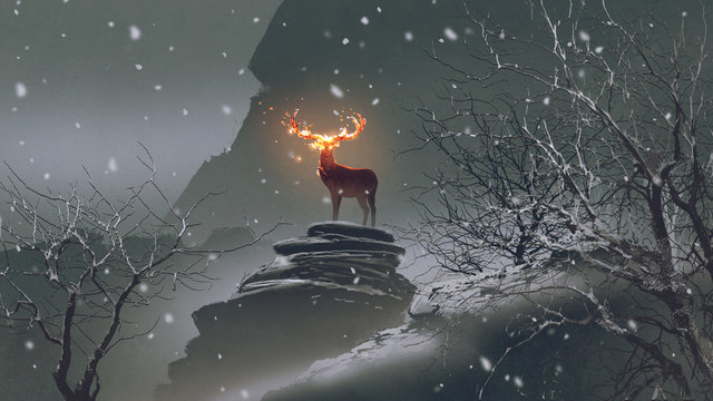 the deer with its fire horns standing on rocks in winter landscape, digital art style, illustration painting