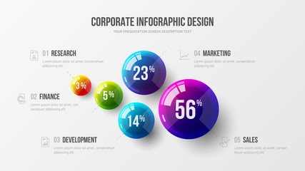 Amazing business infographic presentation vector illustration concept. Corporate marketing analytics data report creative design layout. Company statistics information graphic visualization template. Wall mural