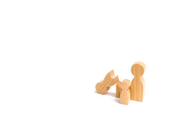 A broken wooden figure of a man with a partner and a child. Strife in the family. One parent is broken, addicted to drugs or alcohol, gaming addiction. Difficulties in family life. Single, divorce.