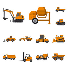 Isolated object of build and construction icon. Set of build and machinery stock symbol for web.