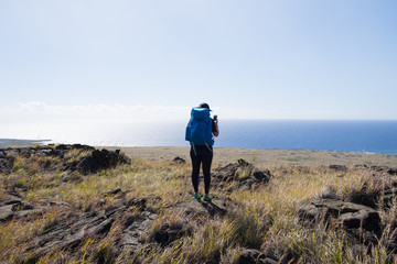 Woman hiking in Hawaii Volcanoes National Park, Hawaii Islands, USA