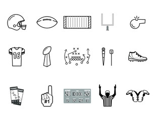 Simple Black and White Football Icon Set