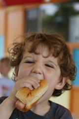 Boy eating hot dog