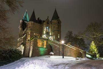 Teleborg Castle at snowy night in Vaxjo, Sweden