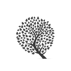 Silhouette of tree on white background. Vector