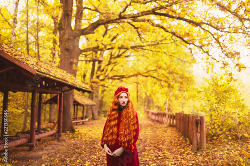 redhead woman in red coat on picturesque autumn background