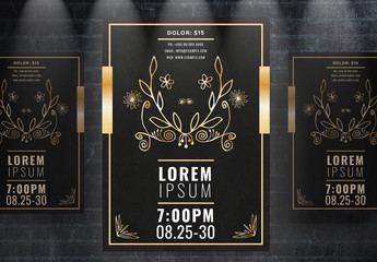 Event Flyer Layout with Gold Illustrations
