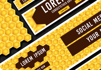 Web Banner Layouts with Honeycomb Pattern
