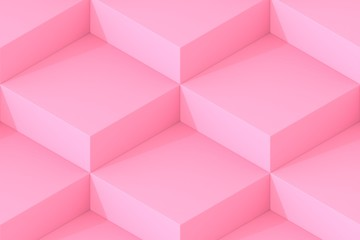 Pink Square Abstract Background. Cube Background. 3D Render Background