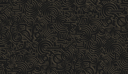 Seamless Vector Mechanical Pattern Texture. Isolated. Steampunk. Metallic. Gold and black