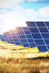 Obraz solar panels on the sky background - fototapety do salonu