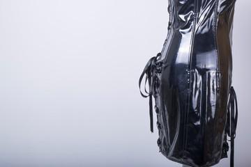 Tailors Mannequin dressed in a Black PVC Corset Dress