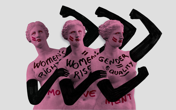 The new time of the woman. Women's rights movement. Conceptual illustration shows symbols of woman struggling hard for her rights.
