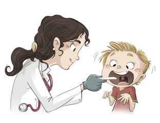 niño pasando la revision medica