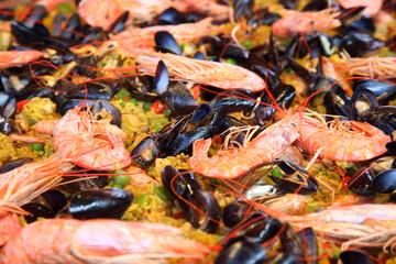 Seafood salad on a large platter