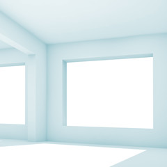 Empty white room with wide window, 3 d