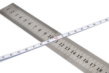 Tools collection - white metal ruler and measuring tape