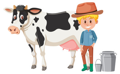 A dairy farmer on white background