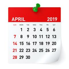 April 2019 - Calendar.