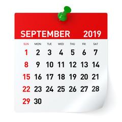 September 2019 - Calendar.