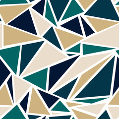 Geometric Triangle Pattern in Teal and Gold