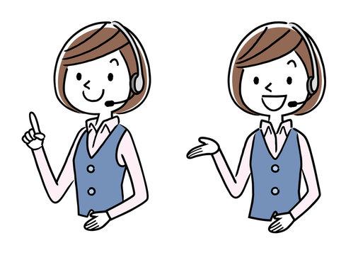 イラスト素材: コールセンター オペレーターの女性