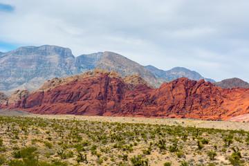 Bright red rocks rise over the Mojave Desert.