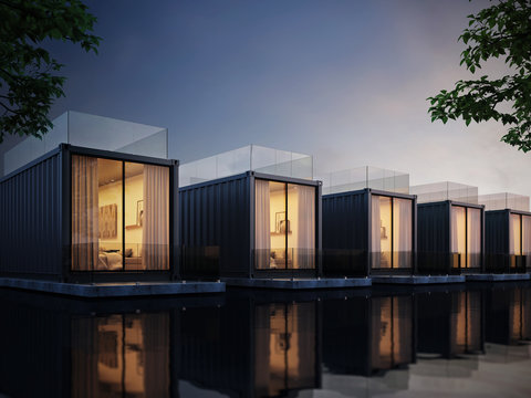 Container House on lake resort, evening light 3D render