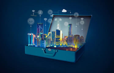 Smart city with smart services and icons, internet of things, networks in an open retro vintage suitcase isolated on blue background .