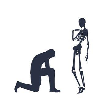 Silhouette of man in prayer pose. Man asking skeleton to forgive him.