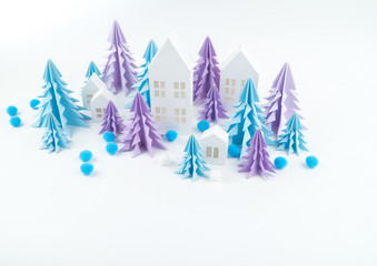Christmas tree blue lilac paper white background