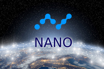Concept of NANO coin Levitating  over world network, a Cryptocurrency blockchain platform , Digital mone