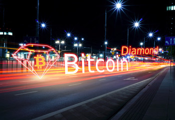 Concept of ฺBitcoin Diamond moving fast  on the road, a Cryptocurrency blockchain platform , Digital money..
