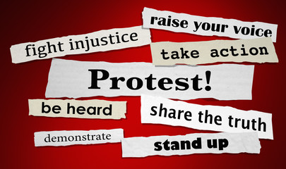 Protest Fight Injustice Stand Up for Rights Headlines 3d Illustration