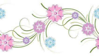 Seamless cute floral border
