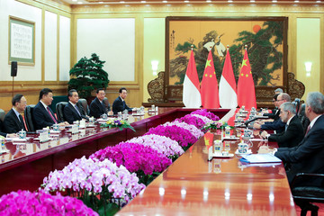 Chinese President Xi Jinping meets with Prince Albert II of Monaco at The Great Hall of People in Beijing