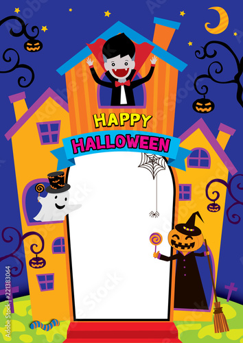 Illustration Vector Of Halloween Castel Design For Frame Template