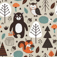 seamless pattern with forest animals on beige background Scandinavian style - vector illustration, eps