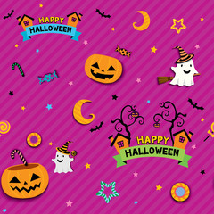 Halloween seamless pattern design with pumpkin candy jar for trick or treat party.