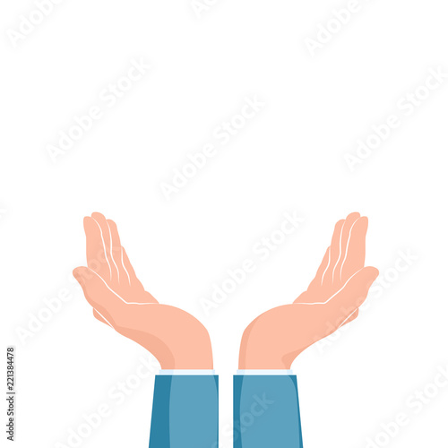 two cupped hands supporting hands vector illustration isolated on