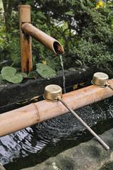 bassin d'ablution a l'entrée d'un temple shintoïste au Japon