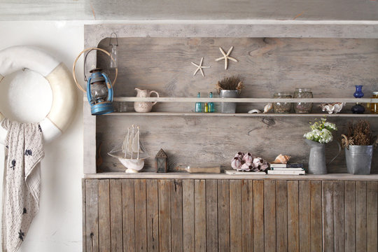 vintage wooden shelf wall in marine style