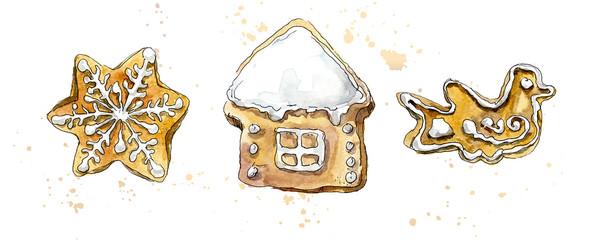 Christmas gingerbread. Watercolor hand dawing illustration