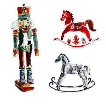 Christmas toys. Nutcracker, horses. Watercolor hand drawing illustration