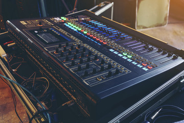 Mixing console for sound reinforcement systems used in many applications
