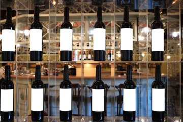 Image of wine bottles in a cafe.