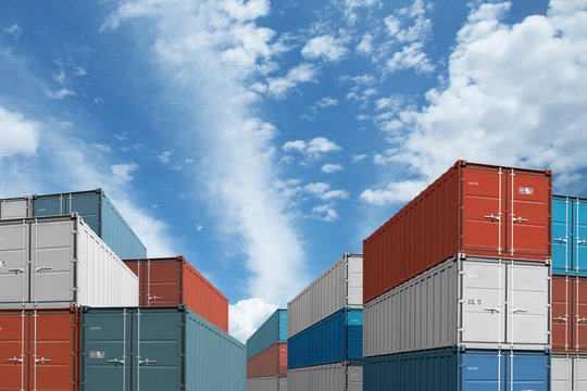 export or import shipping cargo containers stacks under sky