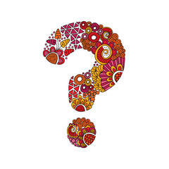 Colourful question mark shape or help symbol, vector illustration with flowers, swirls and abstract doodles.